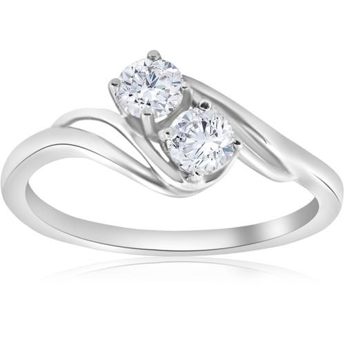 5/8 ct Two Stone Diamond Forever Us Engagement Ring Solitaire 14k White Gold (H/I, I1-I2)