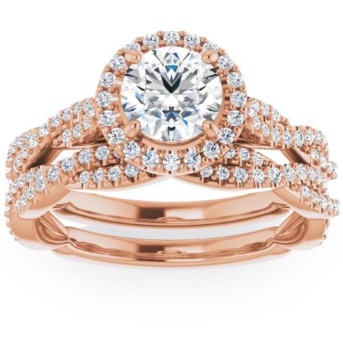 1 1/2ct Diamond Halo Vine Engagement Wedding Ring Set 14k Rose Gold ((G-H), SI(1)-SI(2))