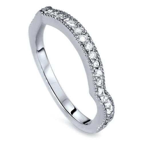 1/4ct Curved Diamond Wedding Ring 14K White Gold (H/I, I2-I3)