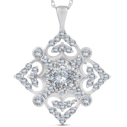 1ct Vintage Style Diamond Pendant 14K White Gold (G/H, I2)