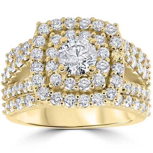 3ct Diamond Engagement Wedding Double Cushion Halo Trio Ring Set 10k Yellow Gold (H/I, I1-I2)