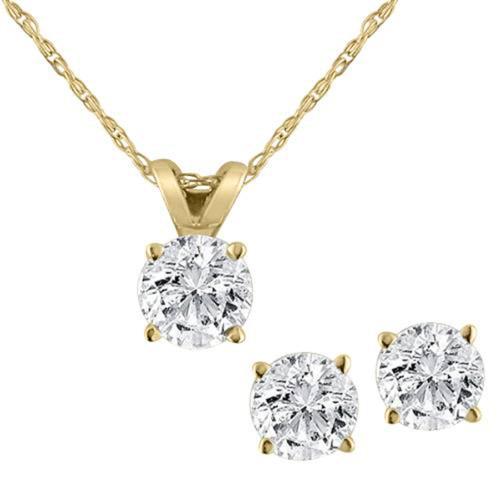 Diamond Solitaire Necklace & Studs Earrings Set 3/4 Carat 14K Yellow Gold (J-K, I2-I3)