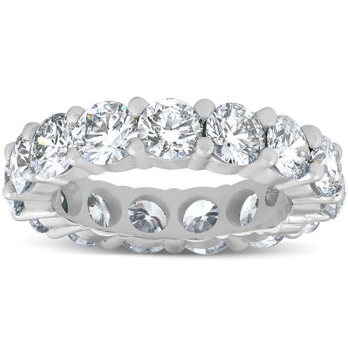 5 Ct Lab Grown Diamond Eternity Ring Womens Wedding Band 14K White Gold (F, VVS)