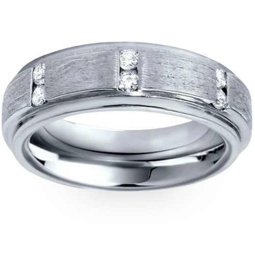 Mens Brushed Wedding Diamond 14K White Gold Ring (G, SI)