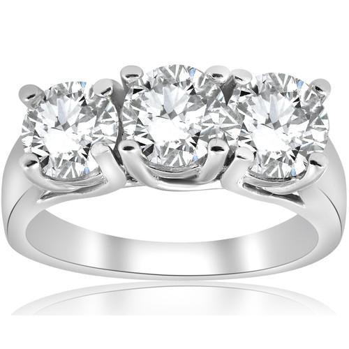 1ct Three Stone Diamond Engagement Ring 14k White Gold ((G-H), SI(1)-SI(2))