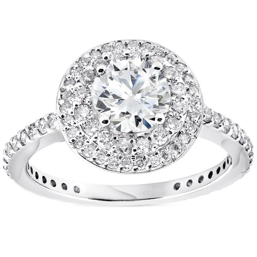 1 3/4 CT Double Halo Round Cut Diamond Engagement Ring 14k White Gold ((G-H), SI(1)-SI(2))