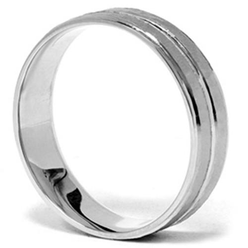 Mens 14K White Gold Hammered Comfort Wedding Band Ring