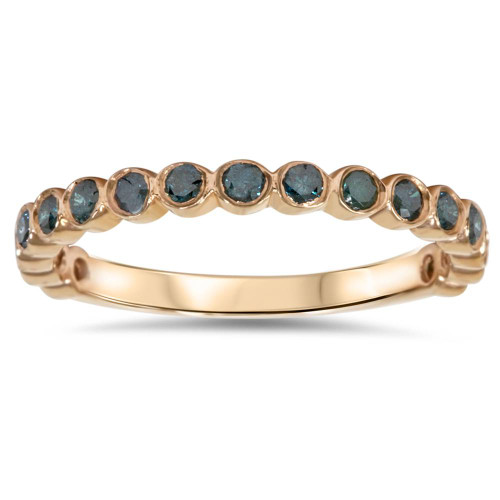 1/2ct Blue Diamond Stackable Ring 14K Rose Gold (Blue, I1)