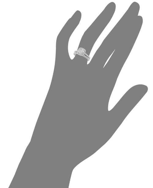 2 ct Cushion Halo Diamond Engagement Ring Matching Wedding Set 14k White Gold ((G-H), SI(1)-SI(2))