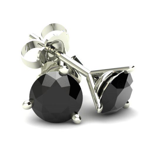 1.50Ct Round Brilliant Cut Heat Treated Black Diamond Stud Earrings in 14K Gold Martini Setting (Black, AAA)