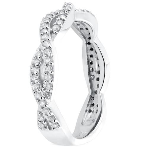 1/3ct Diamond Vine Wedding Stackable Ring in 10k White Gold (H/I, I1-I2)