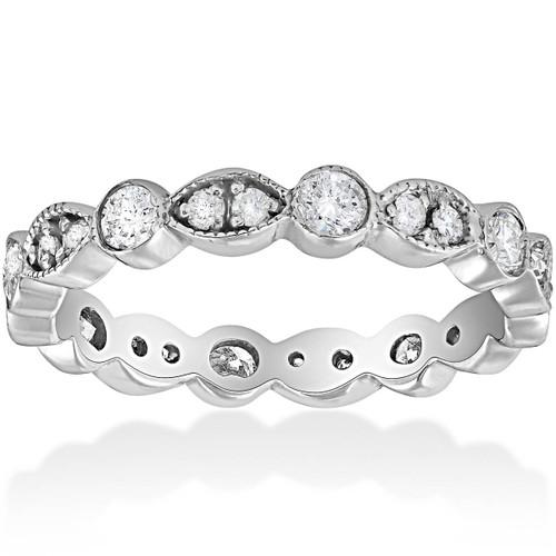 Deco 3/4Ct Diamond Eternity Anniversary Stackable Wedding Ring 14K White Gold (H/I, I1-I2)