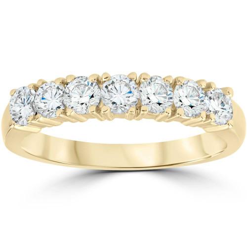 1ct Diamond Wedding Ring Anniversary 14k Yellow Gold 7-Stone Womens Band (G/H, I1)