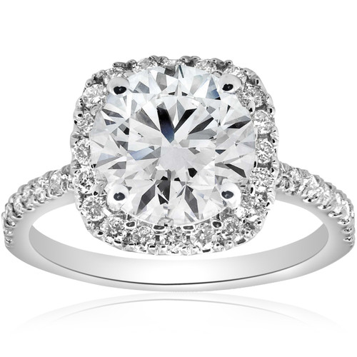 2 1/2CT Diamond Cushion Halo Engagement Ring 14k White Gold ((G-H), SI(1)-SI(2))