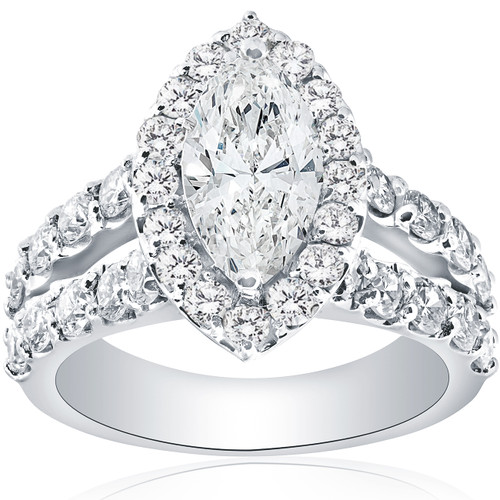 2 1/2ct Marquise Diamond Halo Split Shank Engagement Ring 14k White Gold ((G-H), SI(1)-SI(2))