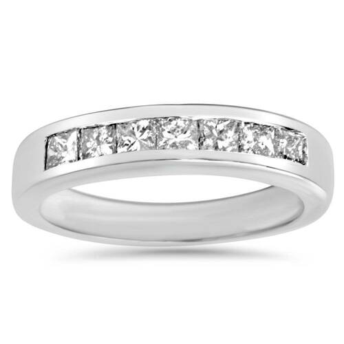 1ct Princess Cut Diamond Wedding Anniversary Ring 14k White Gold (G/H, SI)