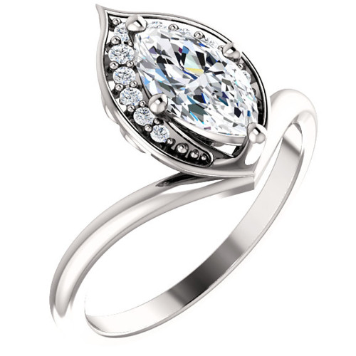 1 1/10ct Diamond Marquise Halo Engagement Ring 14k White Gold Enhanced ((G-H), SI(1)-SI(2))