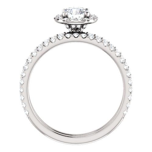 1 1/10ct Diamond Halo Engagement Wedding Ring Set 14k White Gold ((G-H), SI(1)-SI(2))
