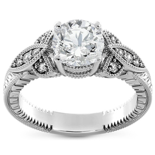 1 1/10ct Diamond Round Vintage Engagement Ring 14k White Gold Enhanced ((G-H), SI(1)-SI(2))