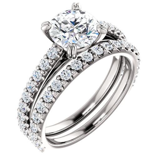 G/SI 2 ct Diamond Engagement Wedding Ring Set White Gold Enhanced ((G-H), SI(1)-SI(2))