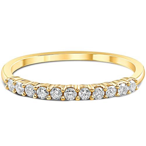 1/4ct 14K Yellow Gold Diamond Wedding Anniversary Ring Band (H, I2)
