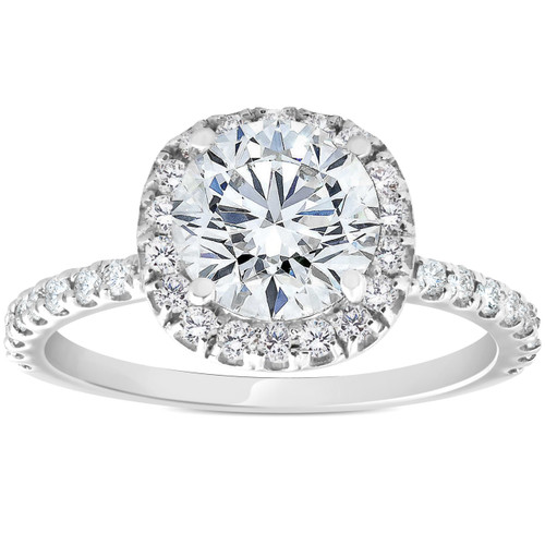 1 3/8ct Diamond Cushion Halo Engagement Ring 14k White Gold ((G-H), SI(1)-SI(2))
