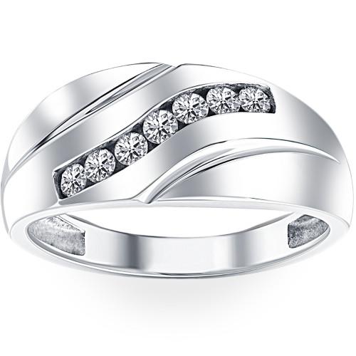 Mens 1/3ct Diamond Wedding Ring 10k White Gold Anniversary Band (H/I, I1-I2)