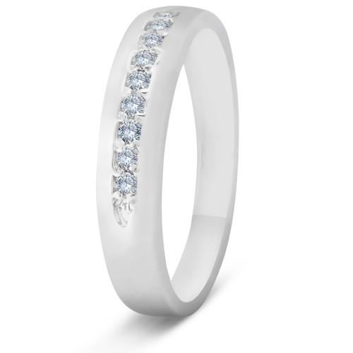 Mens 1/4ct Diamond Wedding Ring 10k White Gold Anniversary Band (H/I, I1-I2)