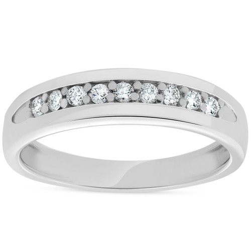 Mens 1/4ct Diamond Wedding Ring 10k White Gold Anniversary Band (H/I, I1-I2)