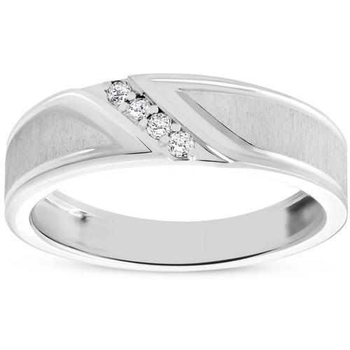 Mens 1/10ct White Gold Diamond Ring Flat Classic Bushed Wedding Anniversary Band (H/I, I1-I2)