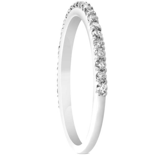 1/4ct Diamond Wedding Ring 14k White Gold Stackable Womens Anniversary Band (H/I, I1-I2)