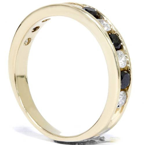 1ct Black & White Diamond Wedding 14K Gold Ring New (G/H, I1)