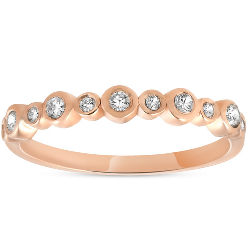 1/3ct Diamond Wedding Ring 14k Rose Gold Stackable Womens Anniversary Band (H/I, I1-I2)