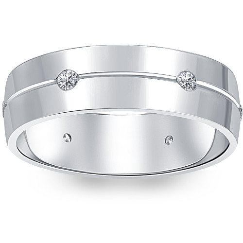 Mens Comfort Fit Bezel Diamond Wedding 14K White Gold Band Ring (G/H, SI)