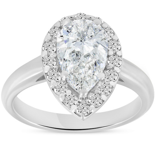 G/SI 1.85 ct Pear Shape Diamond Halo Engagement Ring 14k White Gold Enhanced ((G-H), SI(1)-SI(2))
