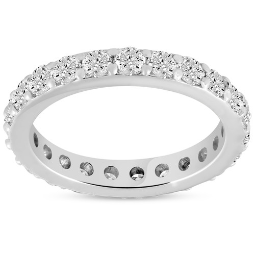 1 1/2 ct Diamond Eternity Ring 14k White Gold Common Prong Stackable Band (H/I, I1-I2)