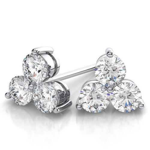 1ct Lab Grown Diamond 3 Stone Studs Womens Earrings 14K White Gold (((G-H)), SI(1)-SI(2))