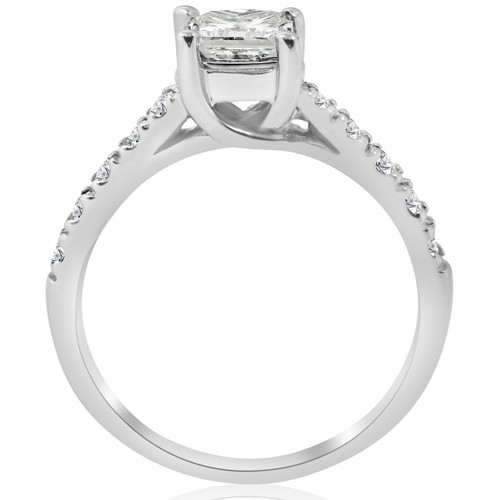 1 1/2ct Enhanced Princess Cut Diamond Engagement Ring Matching Wedding Band Set ((G-H), SI(1)-SI(2))