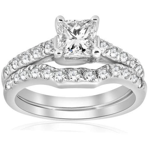 1 1/2ct Enhanced Princess Cut Diamond Engagement Ring Matching Wedding Band Set ((G-H), SI(1)-SI(2))