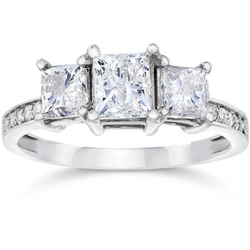 2ct Three Stone Princess Cut Diamond Engagement Ring 14K White Gold (F, SI(2)-I(1))