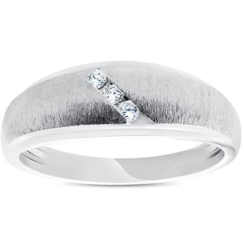 Mens 1/10ct Three Diamond Brushed Wedding Ring 10k White Gold Anniversary Band (H/I, I1-I2)