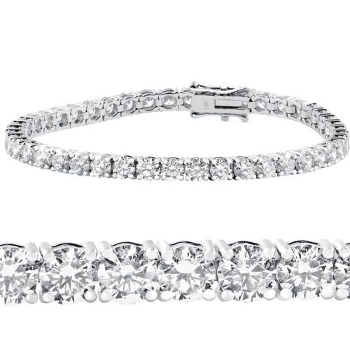"10 ct Diamond Tennis Bracelet 14k White Gold 7"" Double Lock Clasp (G-H, I1)"