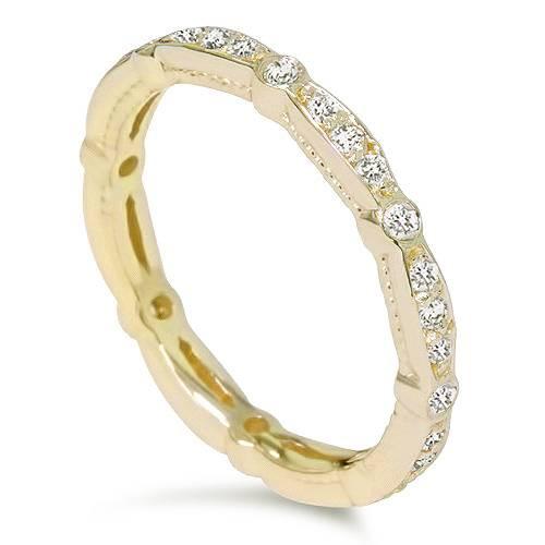 3/8ct Diamond Stackable Wedding Eternity Ring 14K Yellow Gold (H/I, I2-I3)