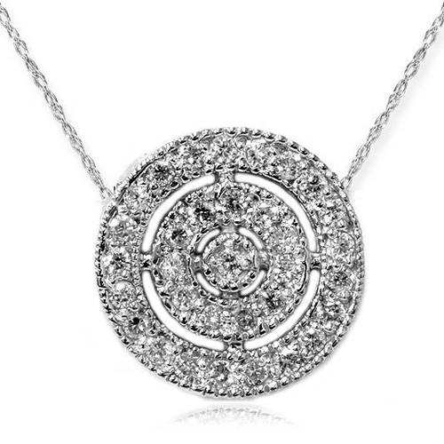 VS 3/8ct Pave Halo Diamond Circle Pendant 14K White Gold (G-H, VS)