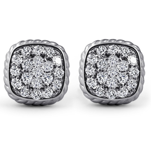 1ct Pave Diamond Cushion Shape Studs Braided Border Earrings 14k White Gold (J-K, I2-I3)