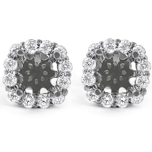 5/8ct Diamond Cushion Halo Studs Mounting Fits 5.5-6.5mm Round Stones 14k White Gold (G-H, I1)