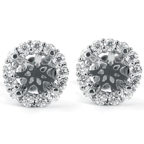 5/8ct Diamond Halo Studs Mounting Fits 5.5-6.5mm Round Stones 14k White Gold (G-H, I1)