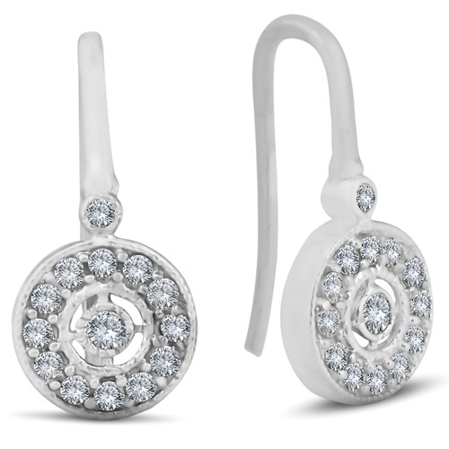 "1/3ct Pave Diamond Vintage Halo Earrings 10K White Gold 1/2"" Tall (H/I, I2)"