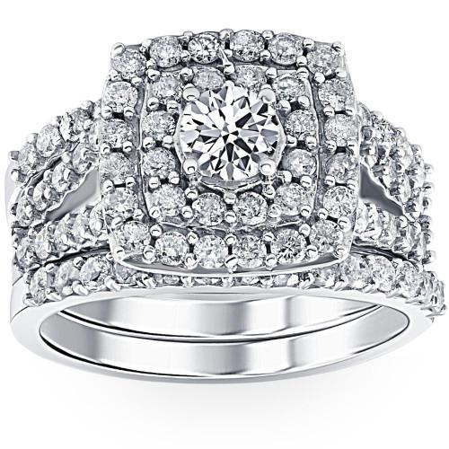 3 ct Diamond Engagement Wedding Double Cushion Halo Trio Ring Set 14k White Gold (H/I, I1-I2)