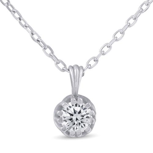 "1/4ct Solitaire Diamond Pendant Necklace 18"" Vintage 14k White Gold (J-K, I2-I3)"